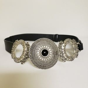 Chico's Leather/Silver  Decorative Accent Belt